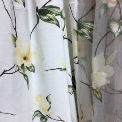 Компаньоны портьерная ткань и органза с цветочным рисунком